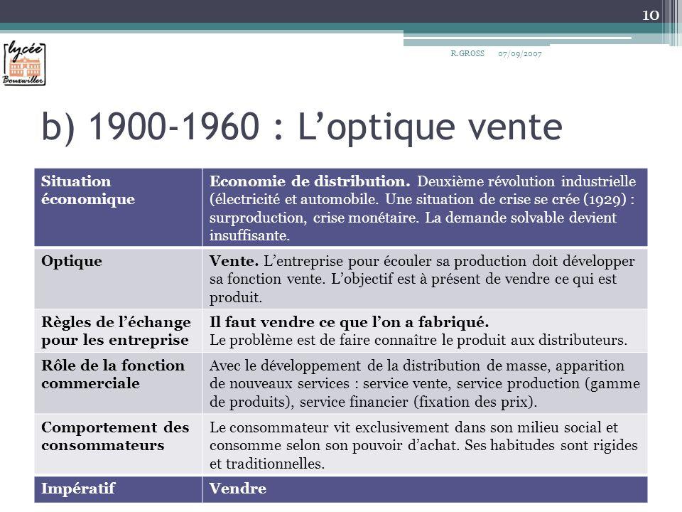 b) 1900-1960 : Loptique vente Situation économique Economie de distribution. Deuxième révolution industrielle (électricité et automobile. Une situatio