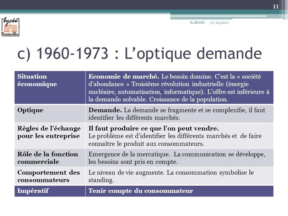 c) 1960-1973 : Loptique demande Situation économique Economie de marché. Le besoin domine. Cest la « société dabondance » Troisième révolution industr