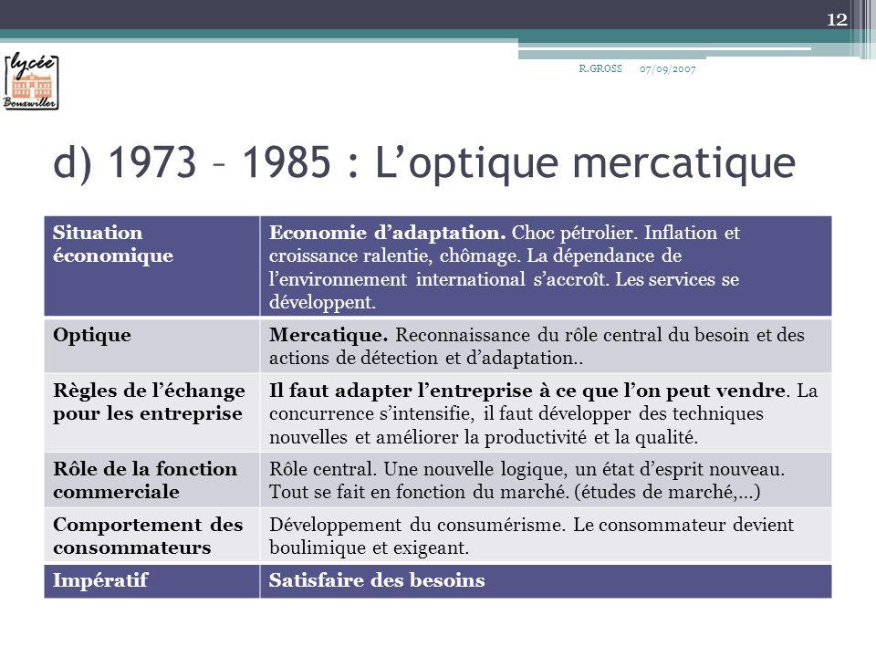 d) 1973 – 1985 : Loptique mercatique Situation économique Economie dadaptation. Choc pétrolier. Inflation et croissance ralentie, chômage. La dépendan