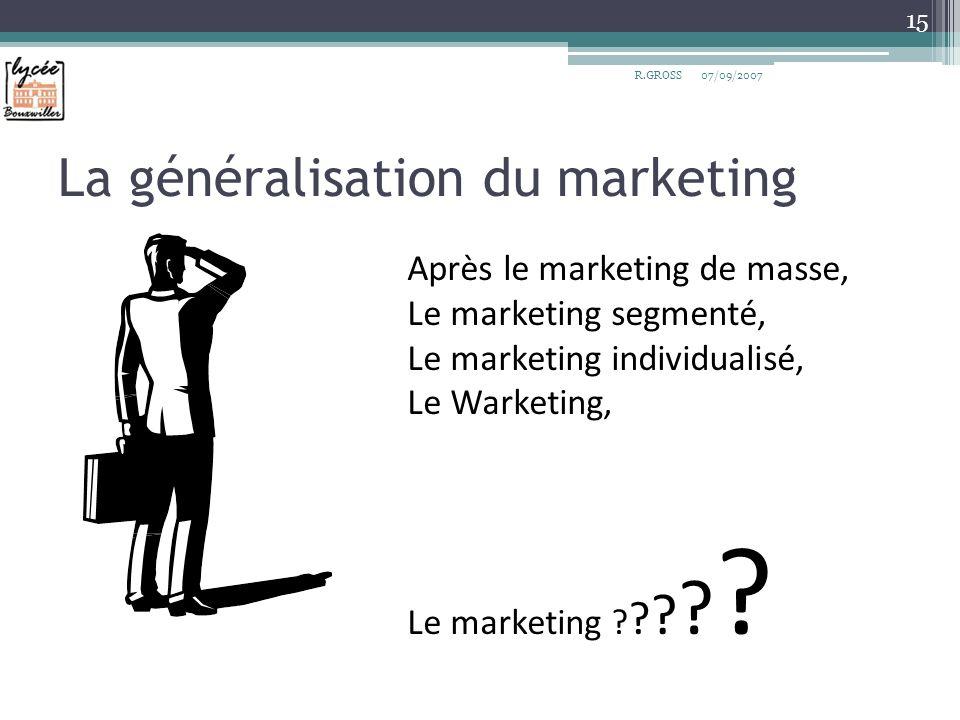 La généralisation du marketing 07/09/2007 15 R.GROSS Après le marketing de masse, Le marketing segmenté, Le marketing individualisé, Le Warketing, Le
