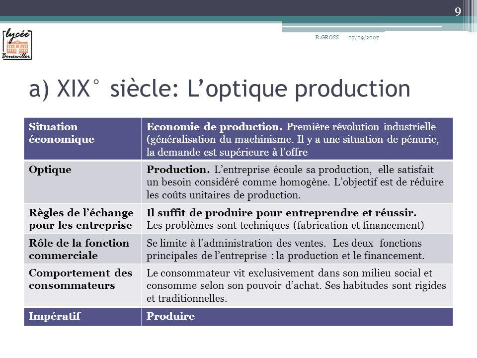a) XIX° siècle: Loptique production Situation économique Economie de production. Première révolution industrielle (généralisation du machinisme. Il y