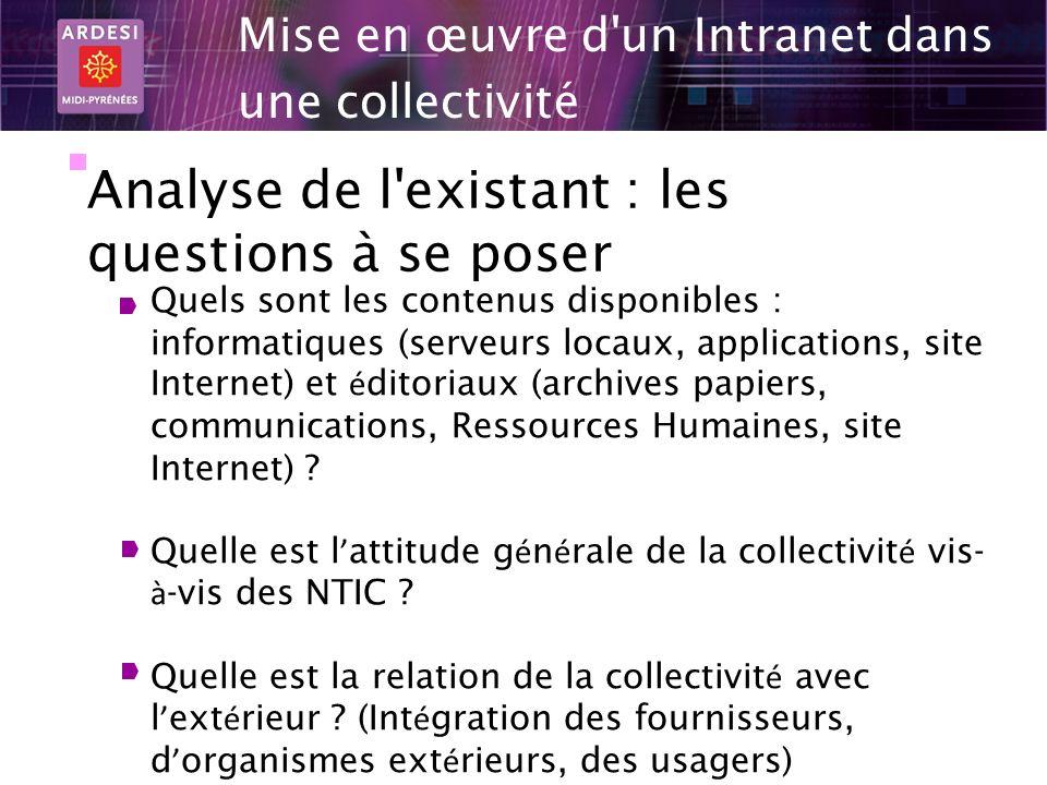 C O U L E U R S Franck VIDAL - CNRS C O U L E U R S Franck VIDAL - CNRS Mise en œuvre d'un Intranet dans une collectivité Analyse de l'existant : les
