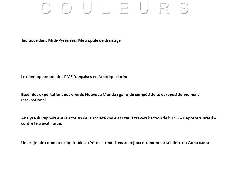 C O U L E U R S Franck VIDAL - CNRS C O U L E U R S Franck VIDAL - CNRS Toulouse dans Midi-Pyrénées : Métropole de drainage Le développement des PME f