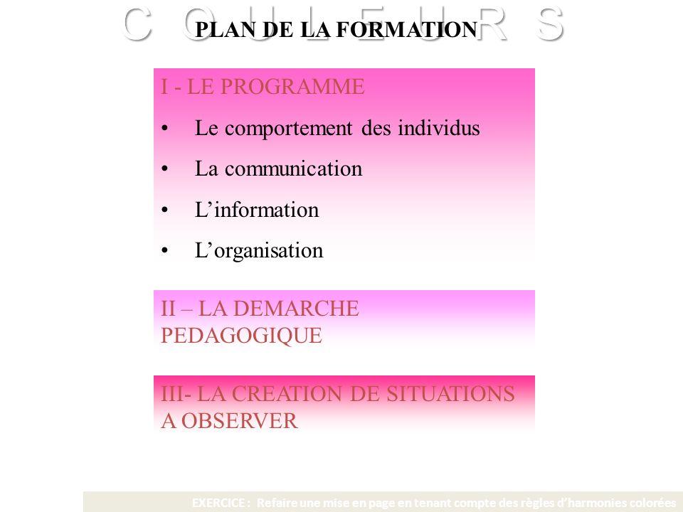 C O U L E U R S Franck VIDAL - CNRS C O U L E U R S Franck VIDAL - CNRS PLAN DE LA FORMATION I - LE PROGRAMME Le comportement des individus La communi