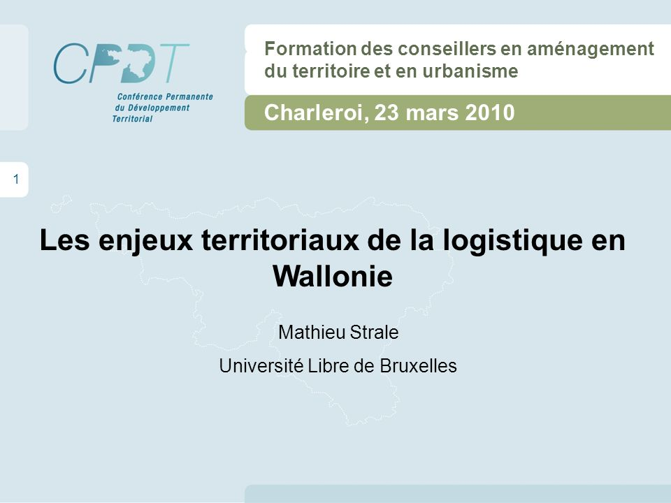 Les enjeux territoriaux de la logistique en Wallonie Plan de lexposé 2 - La logistique et le territoire - Les enjeux pour les pouvoirs publics - La situation en Région wallonne - Conclusion