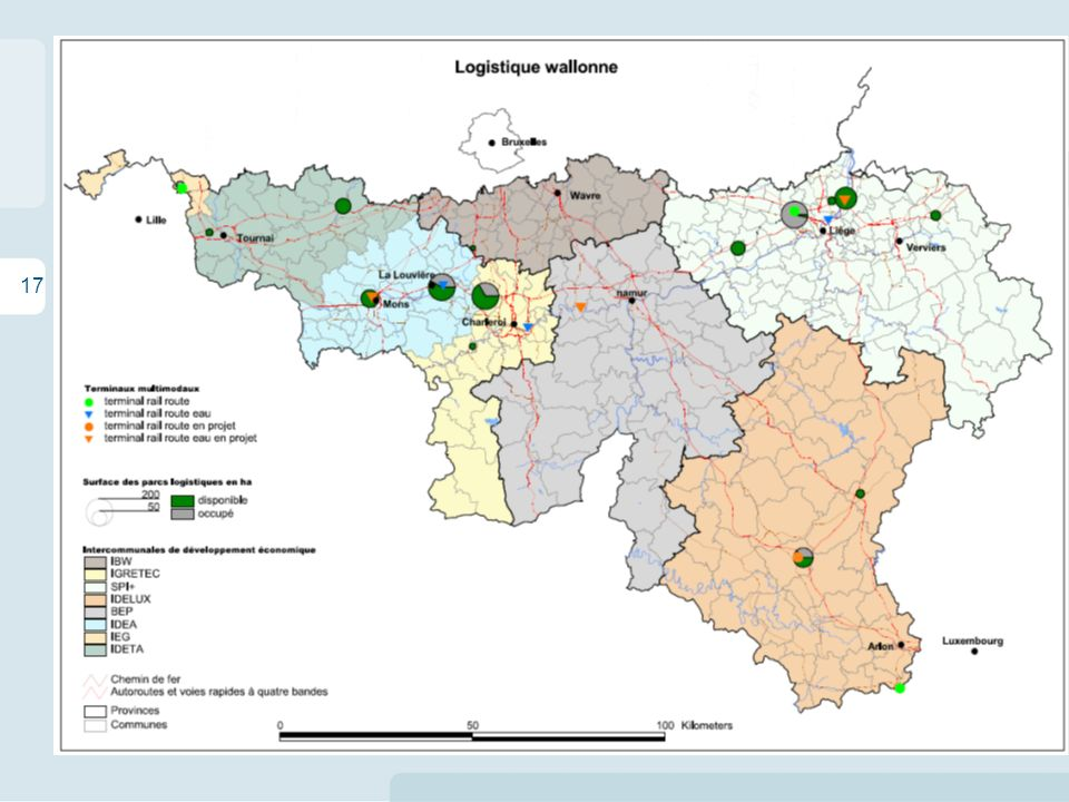 17 Les enjeux territoriaux de la logistique en Wallonie La situation en Région wallonne