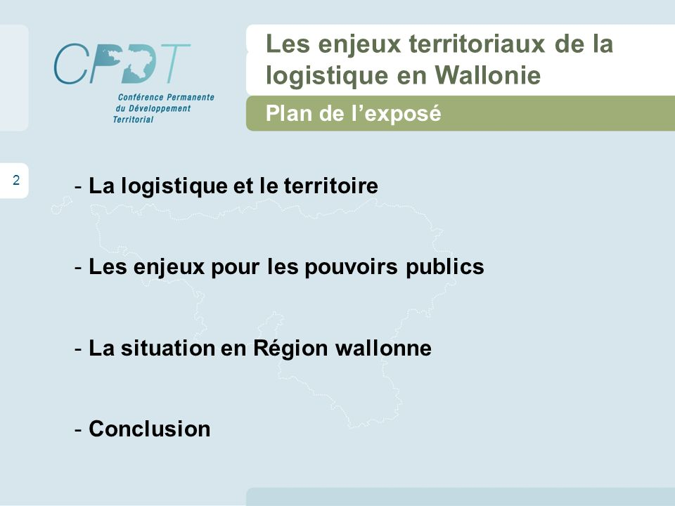 13 Les enjeux territoriaux de la logistique en Wallonie La situation en Région wallonne Le Trilogiport