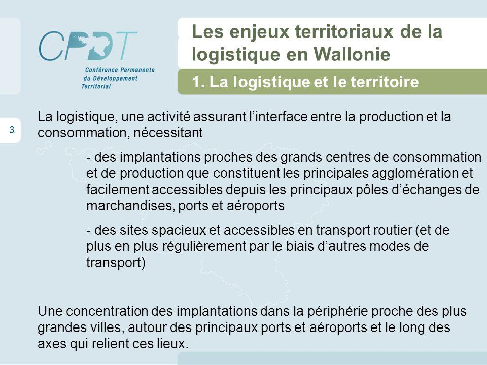 1. La logistique et le territoire 3 Les enjeux territoriaux de la logistique en Wallonie La logistique, une activité assurant linterface entre la prod