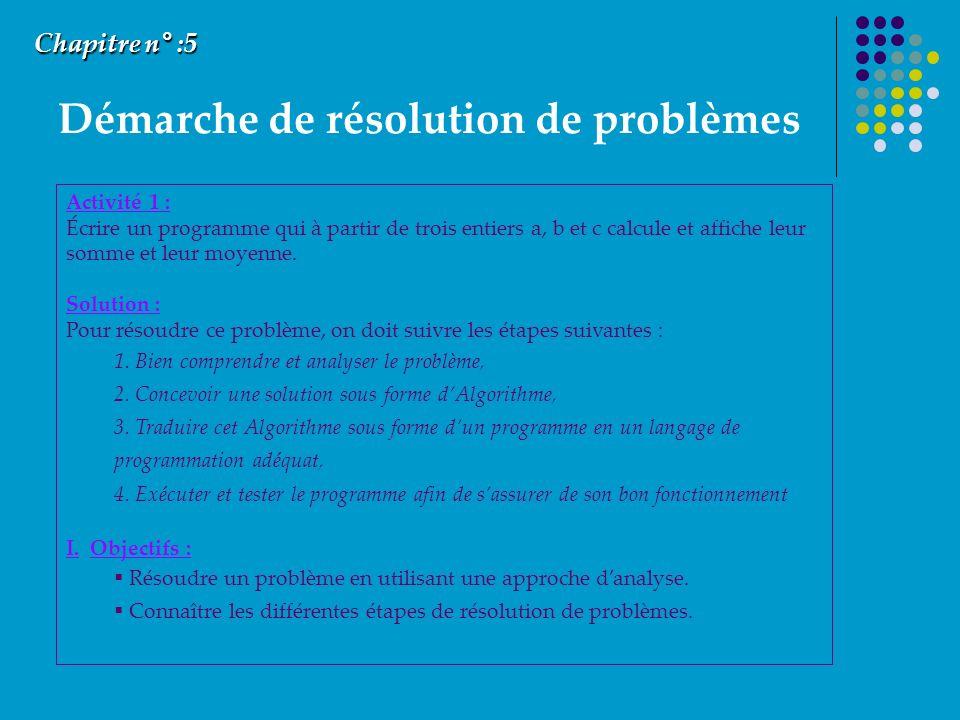 Démarche de résolution de problèmes Chapitre n° :5 Activité 1 : Écrire un programme qui à partir de trois entiers a, b et c calcule et affiche leur somme et leur moyenne.