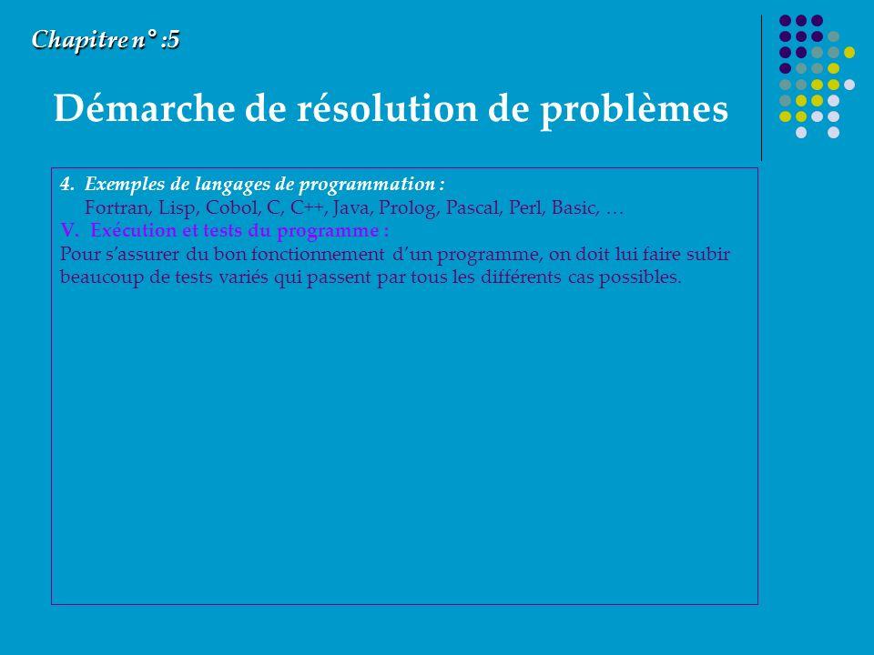 Démarche de résolution de problèmes Chapitre n° :5 4. Exemples de langages de programmation : Fortran, Lisp, Cobol, C, C++, Java, Prolog, Pascal, Perl