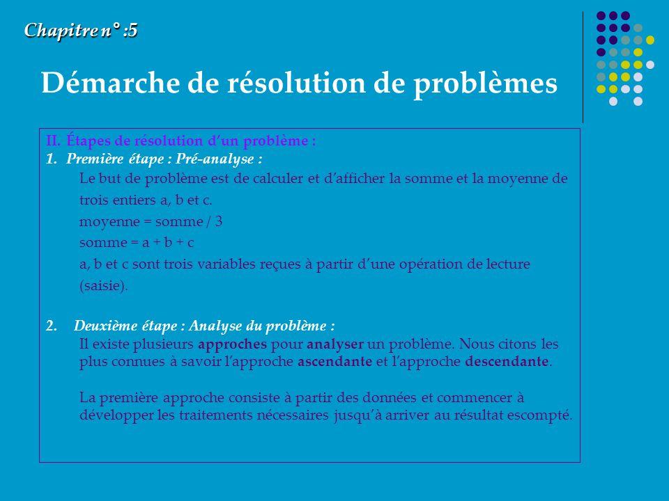 Démarche de résolution de problèmes Chapitre n° :5 II.Étapes de résolution dun problème : 1.Première étape : Pré-analyse : Le but de problème est de calculer et dafficher la somme et la moyenne de trois entiers a, b et c.