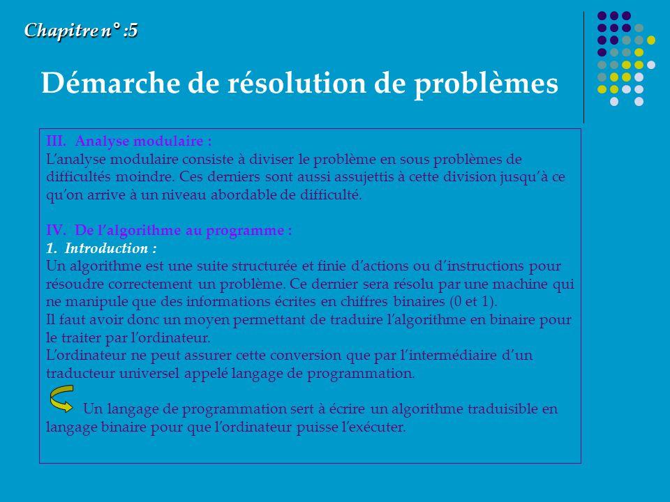 Démarche de résolution de problèmes Chapitre n° :5 III. Analyse modulaire : Lanalyse modulaire consiste à diviser le problème en sous problèmes de dif
