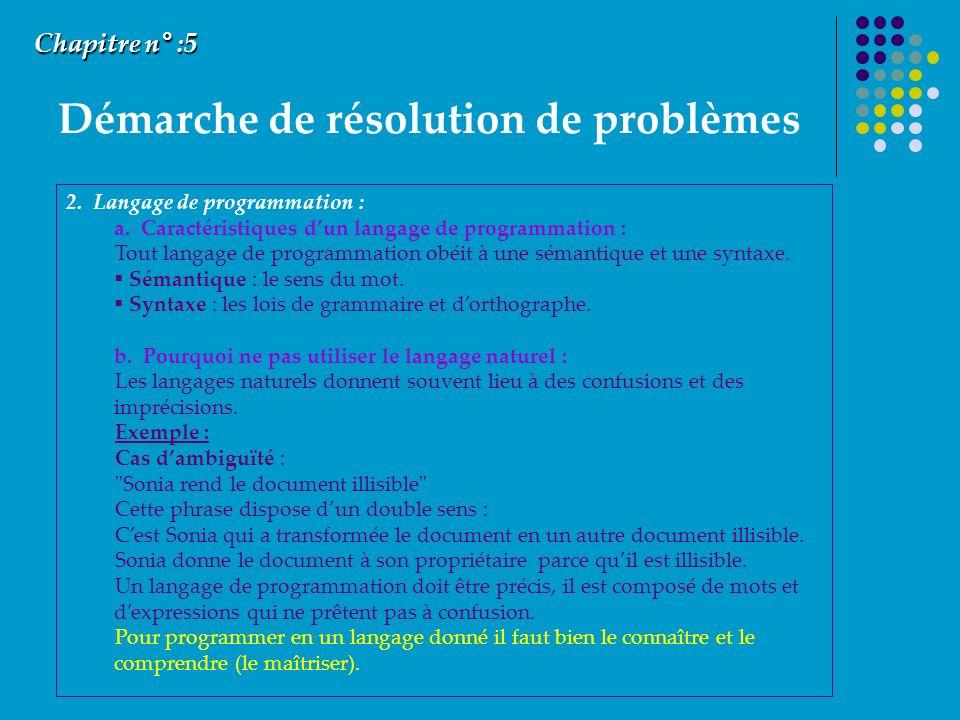 Démarche de résolution de problèmes Chapitre n° :5 2. Langage de programmation : a. Caractéristiques dun langage de programmation : Tout langage de pr