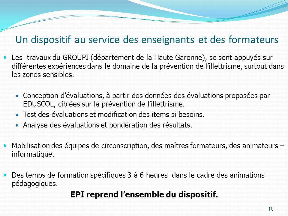 Un dispositif au service des enseignants et des formateurs Les travaux du GROUPI (département de la Haute Garonne), se sont appuyés sur différentes expériences dans le domaine de la prévention de lillettrisme, surtout dans les zones sensibles.