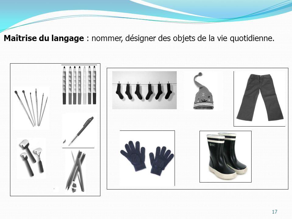 17 Maîtrise du langage : nommer, désigner des objets de la vie quotidienne.