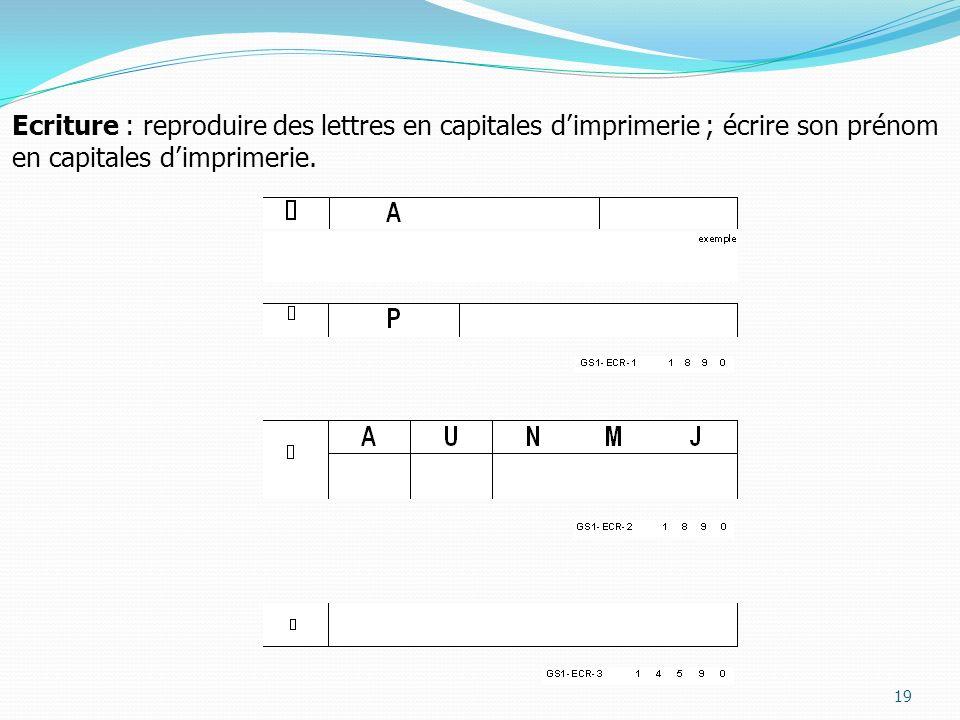 19 Ecriture : reproduire des lettres en capitales dimprimerie ; écrire son prénom en capitales dimprimerie.