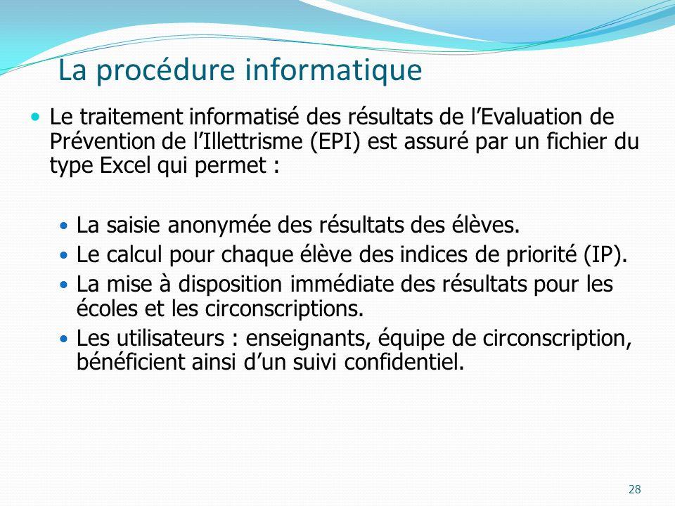 La procédure informatique Le traitement informatisé des résultats de lEvaluation de Prévention de lIllettrisme (EPI) est assuré par un fichier du type Excel qui permet : La saisie anonymée des résultats des élèves.
