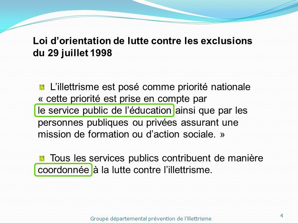 Lillettrisme est posé comme priorité nationale « cette priorité est prise en compte par le service public de léducation ainsi que par les personnes publiques ou privées assurant une mission de formation ou daction sociale.