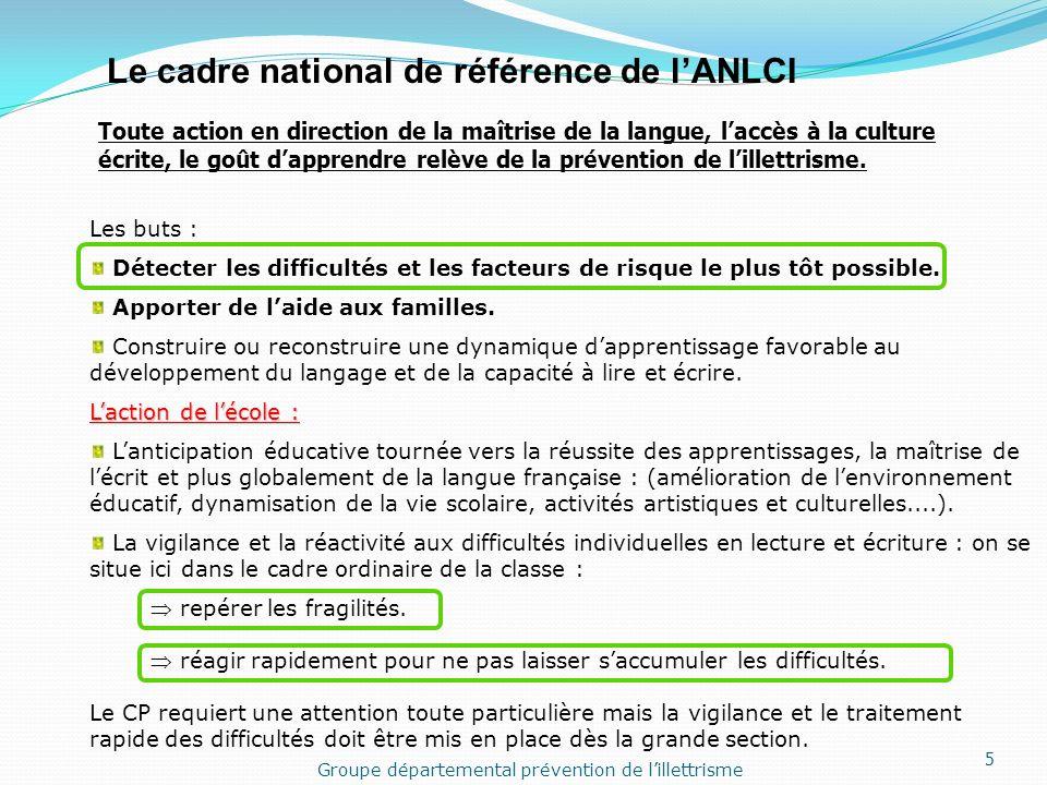 Le cadre national de référence de lANLCI Toute action en direction de la maîtrise de la langue, laccès à la culture écrite, le goût dapprendre relève de la prévention de lillettrisme.