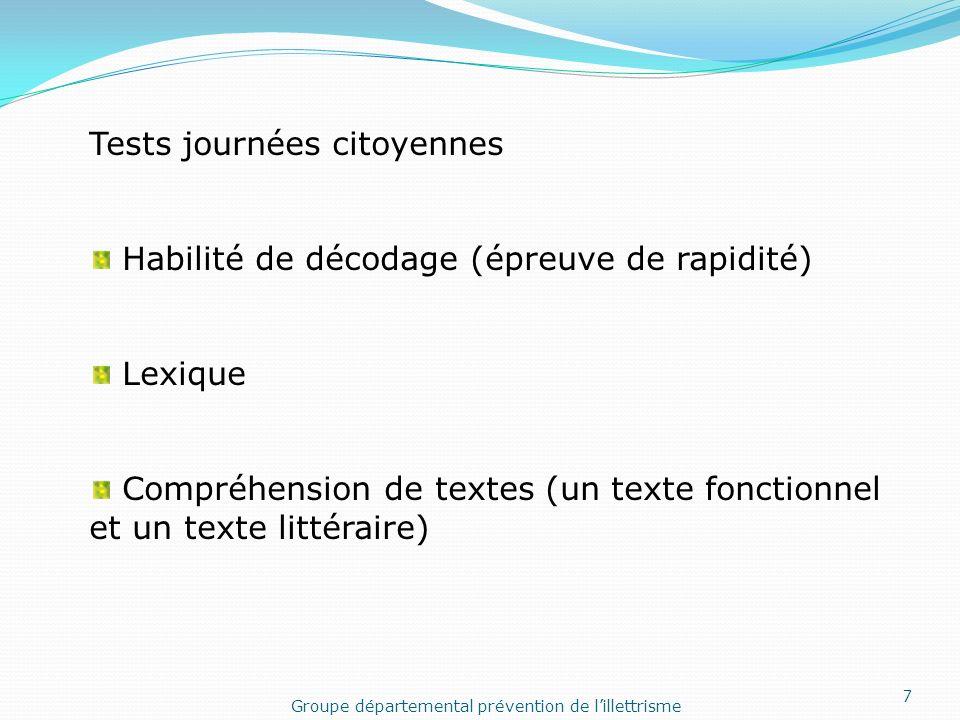 Tests journées citoyennes Habilité de décodage (épreuve de rapidité) Lexique Compréhension de textes (un texte fonctionnel et un texte littéraire) Gro