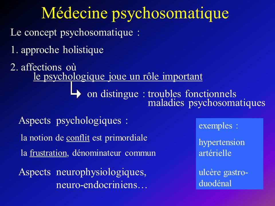 Médecine psychosomatique Le concept psychosomatique : 1.