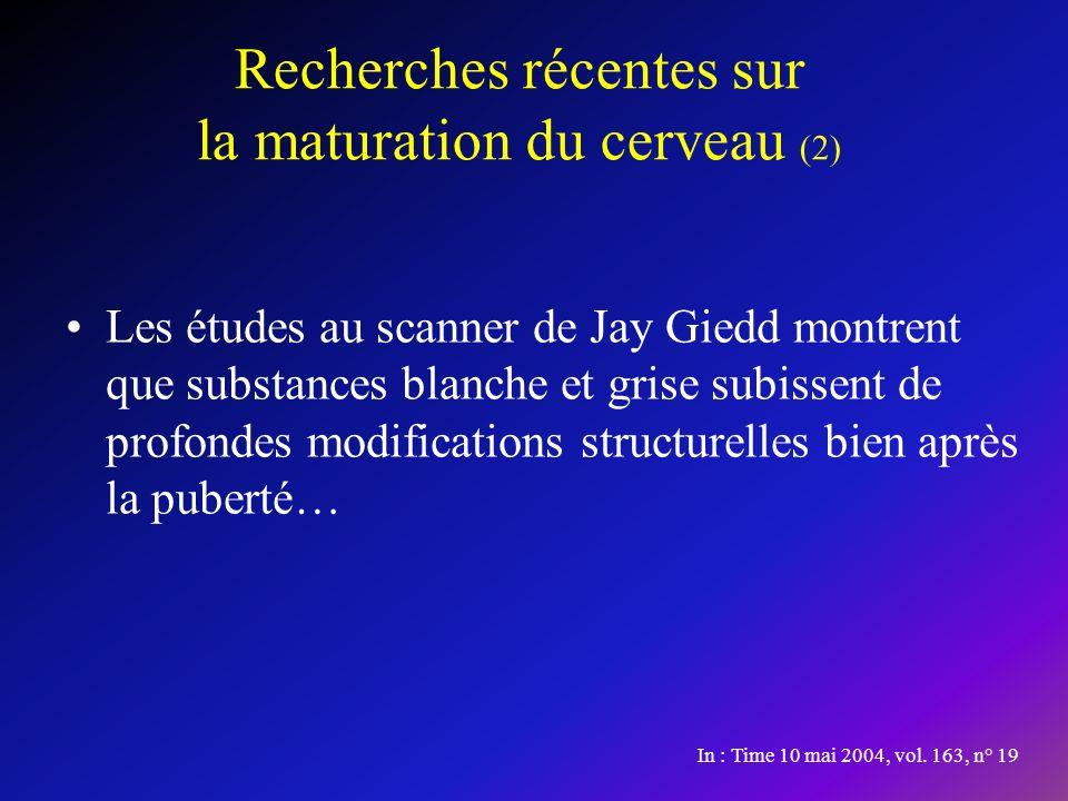 Recherches récentes sur la maturation du cerveau (2) Les études au scanner de Jay Giedd montrent que substances blanche et grise subissent de profondes modifications structurelles bien après la puberté… In : Time 10 mai 2004, vol.