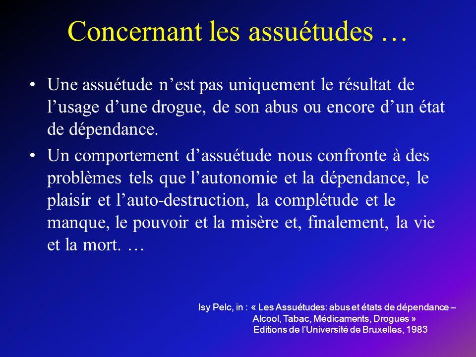 Concernant les assuétudes … Une assuétude nest pas uniquement le résultat de lusage dune drogue, de son abus ou encore dun état de dépendance.