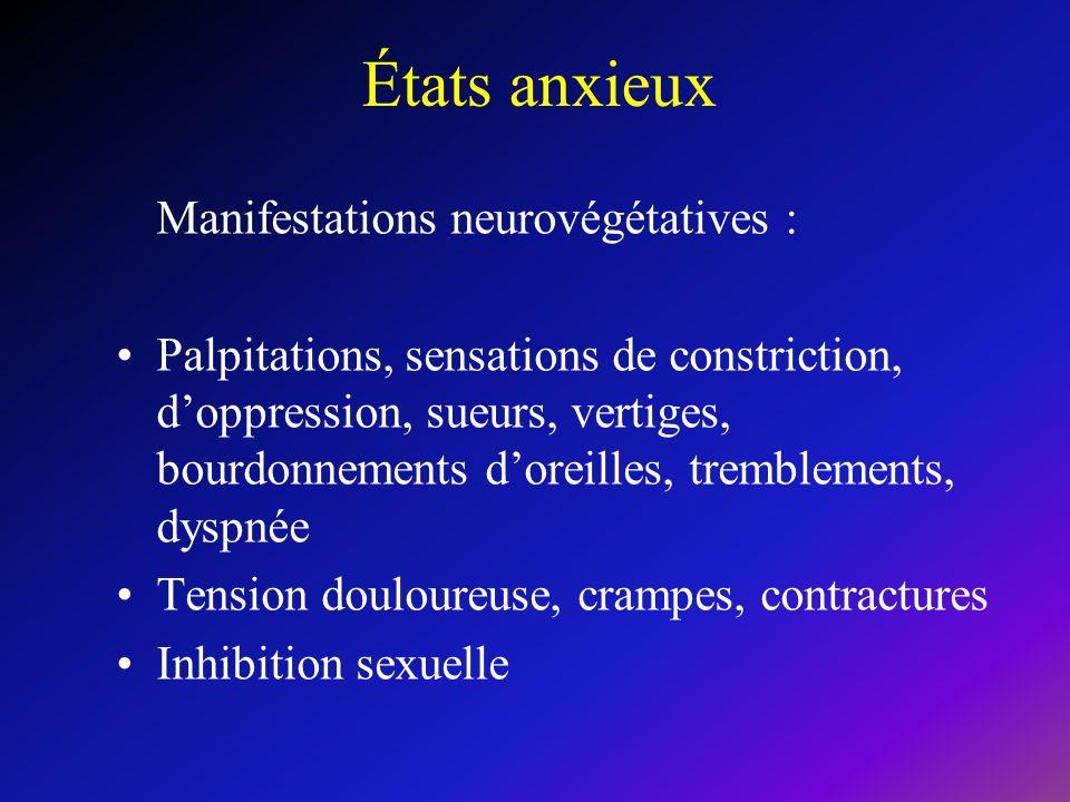 États anxieux Manifestations neurovégétatives : Palpitations, sensations de constriction, doppression, sueurs, vertiges, bourdonnements doreilles, tremblements, dyspnée Tension douloureuse, crampes, contractures Inhibition sexuelle