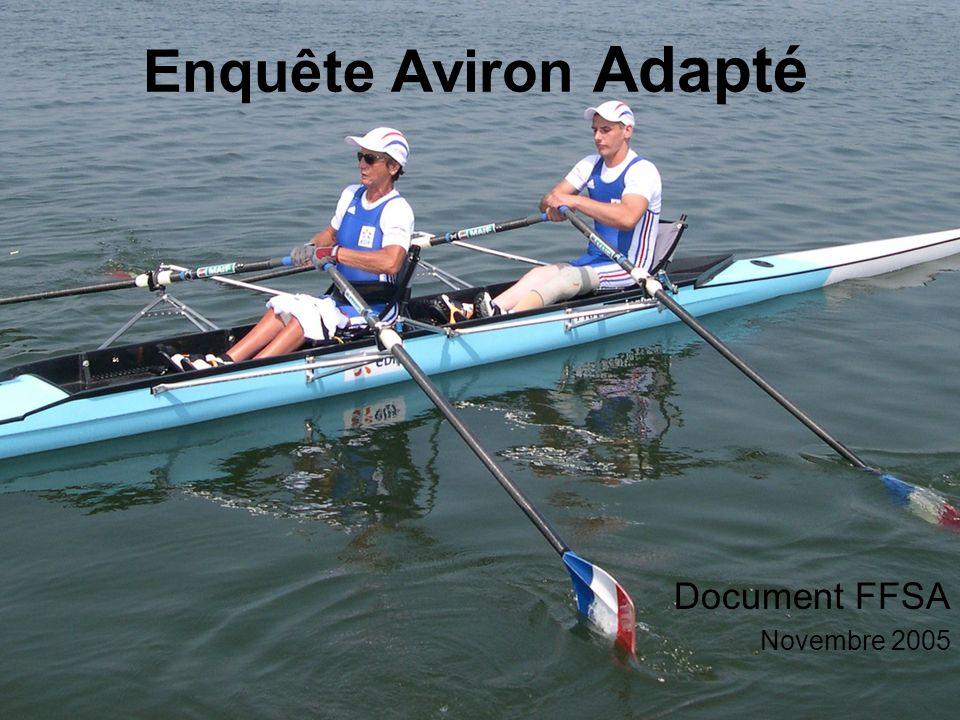 Document FFSA Enquête Aviron Adapté 2005 Document FFSA Novembre 2005 Enquête Aviron Adapté