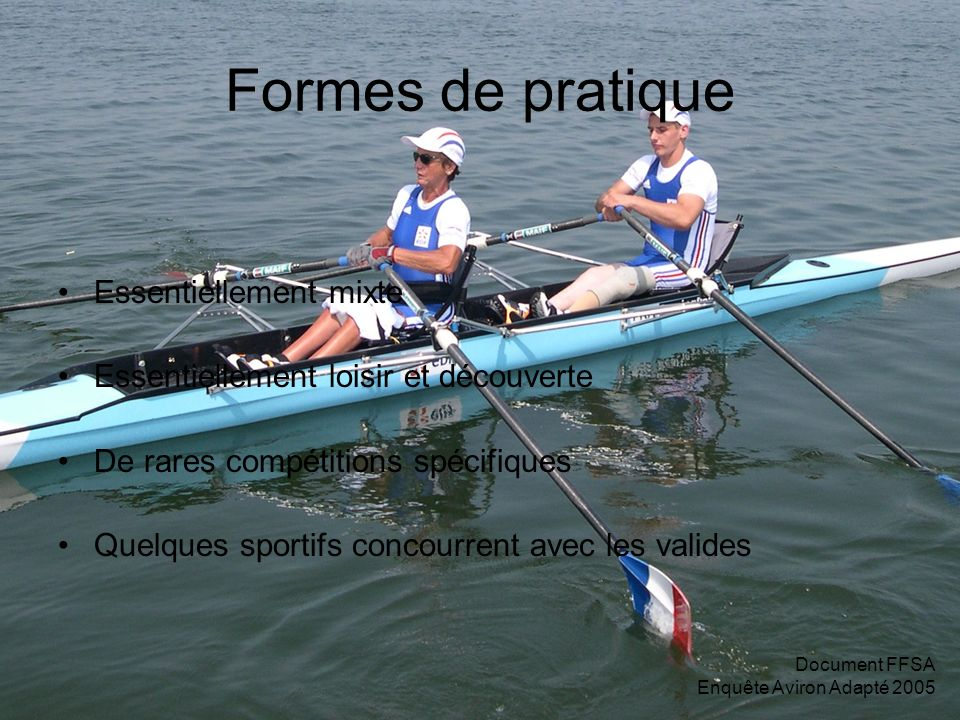 Document FFSA Enquête Aviron Adapté 2005 Formes de pratique Essentiellement mixte Essentiellement loisir et découverte De rares compétitions spécifiqu