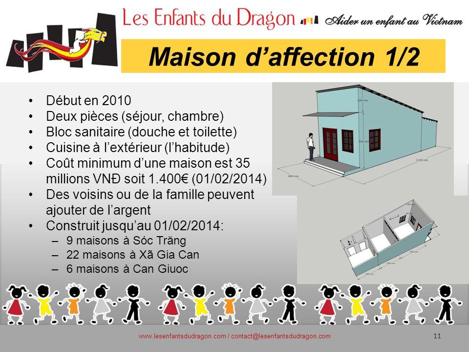 Maison daffection 1/2 Début en 2010 Deux pièces (séjour, chambre) Bloc sanitaire (douche et toilette) Cuisine à lextérieur (lhabitude) Coût minimum du