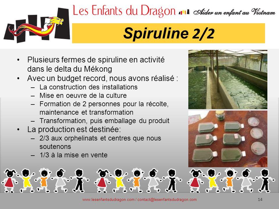 Spiruline 2/2 Plusieurs fermes de spiruline en activité dans le delta du Mékong Avec un budget record, nous avons réalisé : –La construction des insta