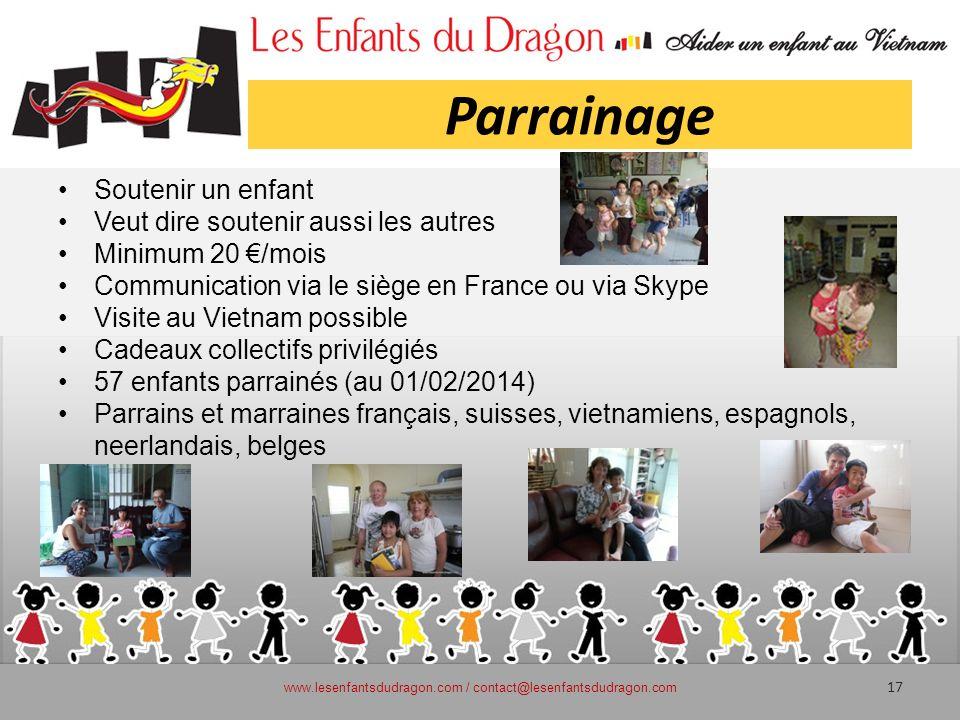 Parrainage Soutenir un enfant Veut dire soutenir aussi les autres Minimum 20 /mois Communication via le siège en France ou via Skype Visite au Vietnam