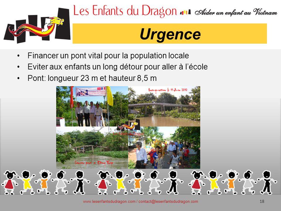 Urgence Financer un pont vital pour la population locale Eviter aux enfants un long détour pour aller à lécole Pont: longueur 23 m et hauteur 8,5 m ww