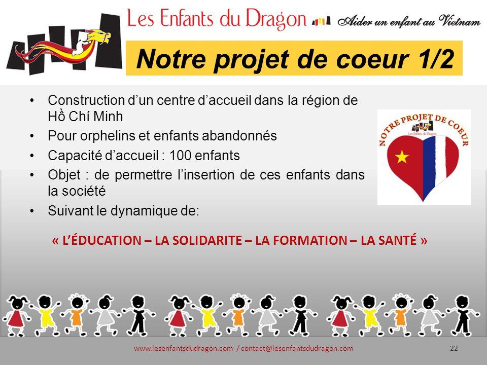 Notre projet de coeur 1/2 Construction dun centre daccueil dans la région de H Chí Minh Pour orphelins et enfants abandonnés Capacité daccueil : 100 e
