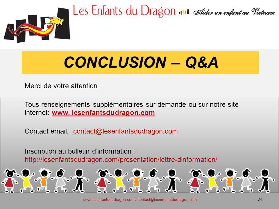 CONCLUSION – Q&A Merci de votre attention. Tous renseignements supplémentaires sur demande ou sur notre site internet: www. lesenfantsdudragon.com Con