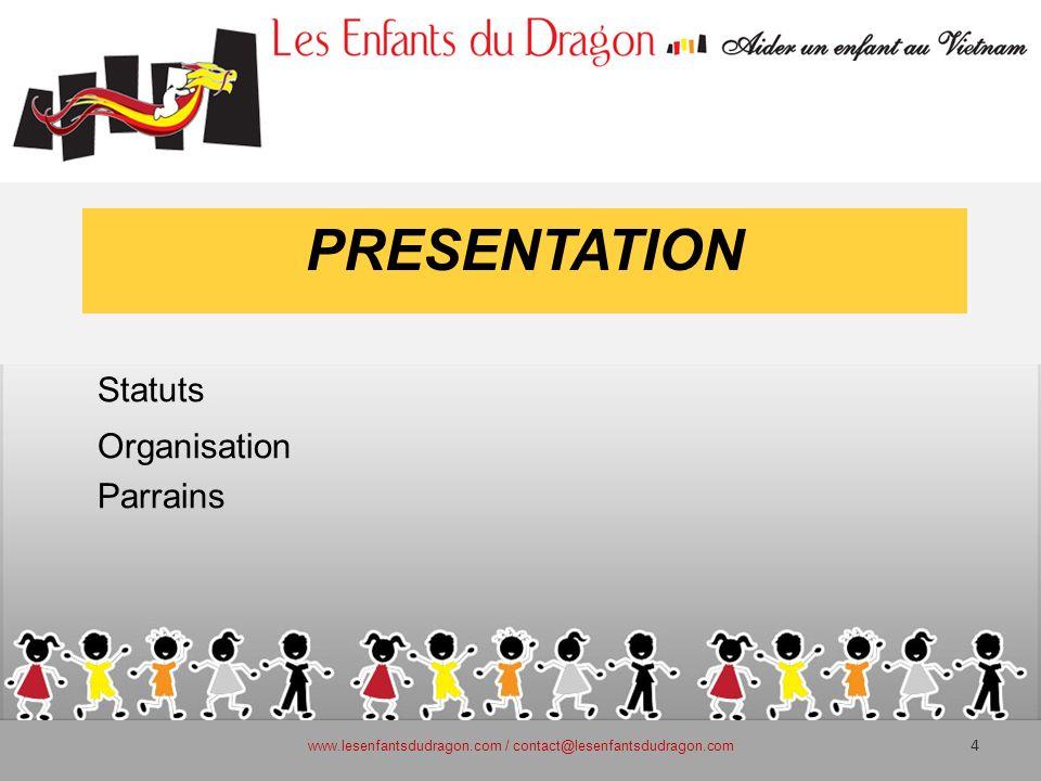 PRESENTATION Statuts Organisation Parrains www.lesenfantsdudragon.com / contact@lesenfantsdudragon.com 4