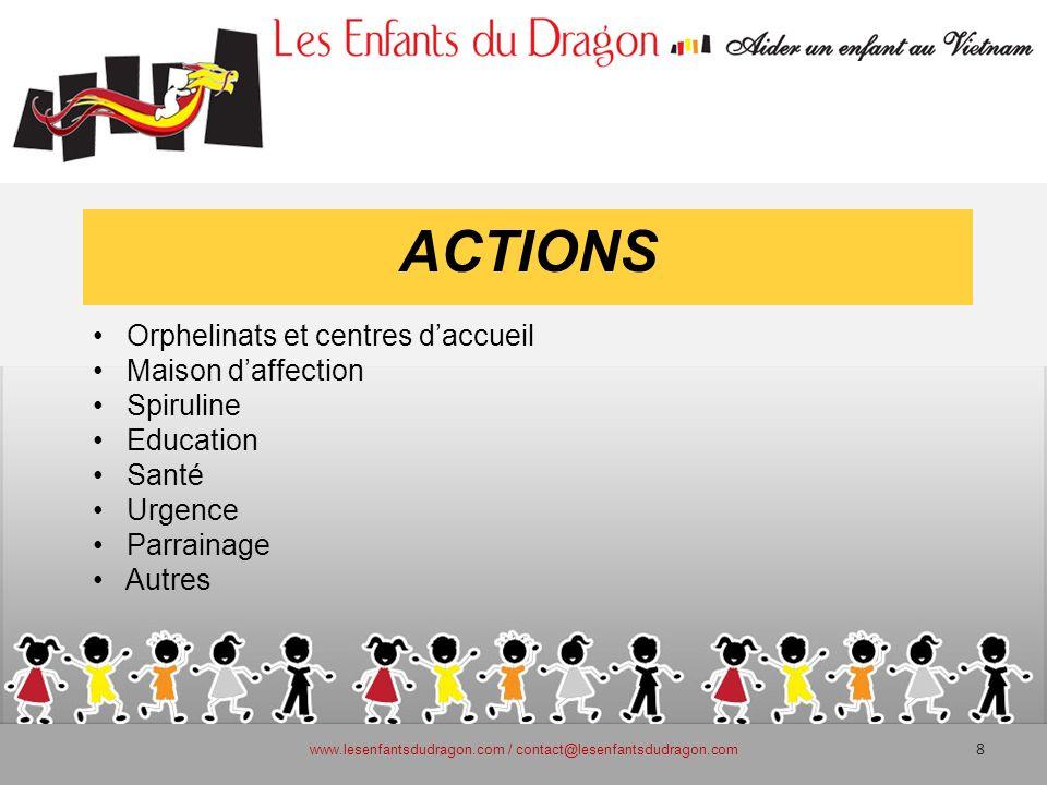 ACTIONS Orphelinats et centres daccueil Maison daffection Spiruline Education Santé Urgence Parrainage Autres www.lesenfantsdudragon.com / contact@les