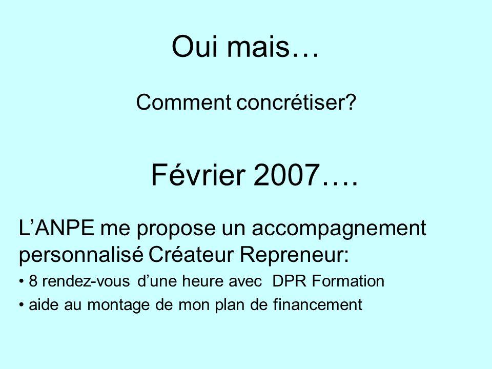 Oui mais… Comment concrétiser? Février 2007…. LANPE me propose un accompagnement personnalisé Créateur Repreneur: 8 rendez-vous dune heure avec DPR Fo