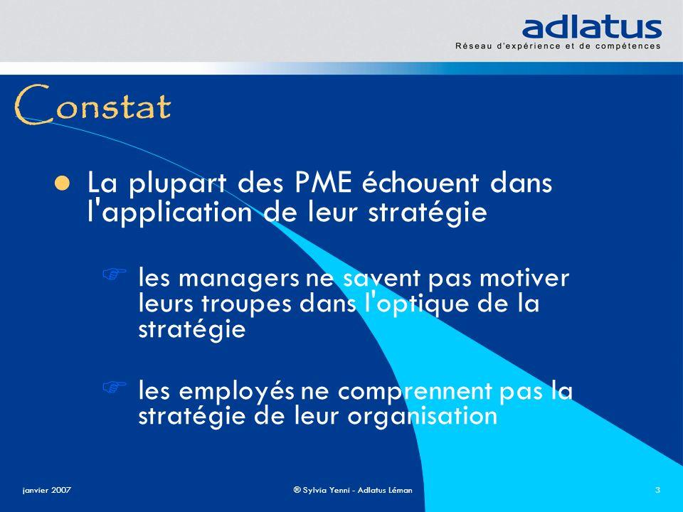 janvier 2007® Sylvia Yenni - Adlatus Léman3 Constat La plupart des PME échouent dans l'application de leur stratégie les managers ne savent pas motive
