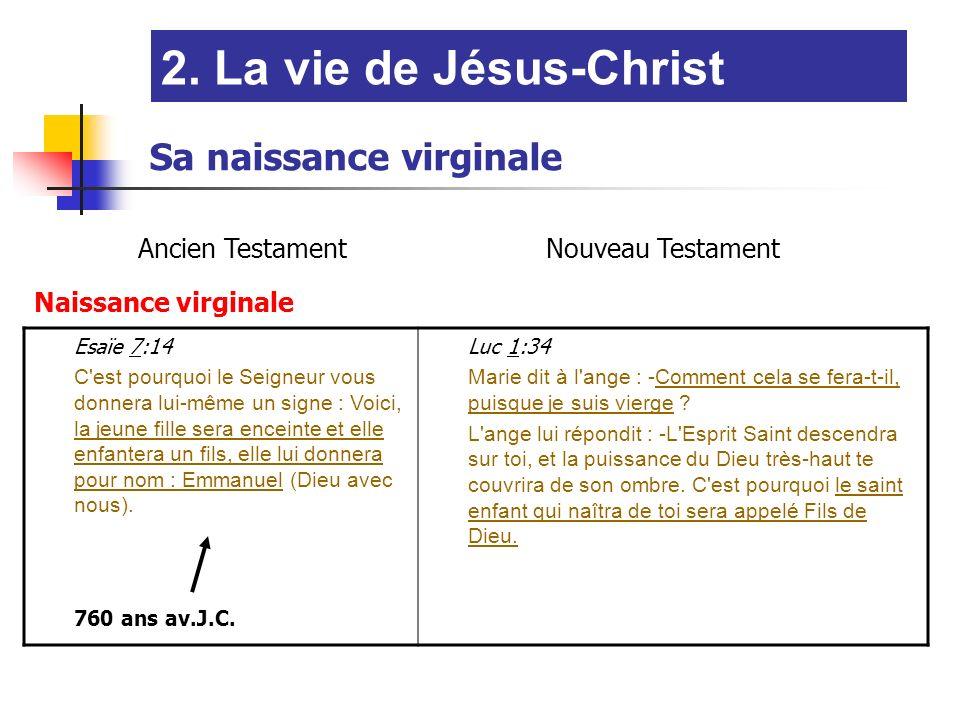 Ancien TestamentNouveau Testament Naissance virginale Esaïe 7:14 C est pourquoi le Seigneur vous donnera lui-même un signe : Voici, la jeune fille sera enceinte et elle enfantera un fils, elle lui donnera pour nom : Emmanuel (Dieu avec nous).