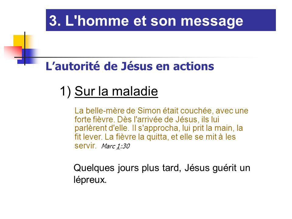 1) Sur la maladie La belle-mère de Simon était couchée, avec une forte fièvre. Dès l'arrivée de Jésus, ils lui parlèrent d'elle. Il s'approcha, lui pr