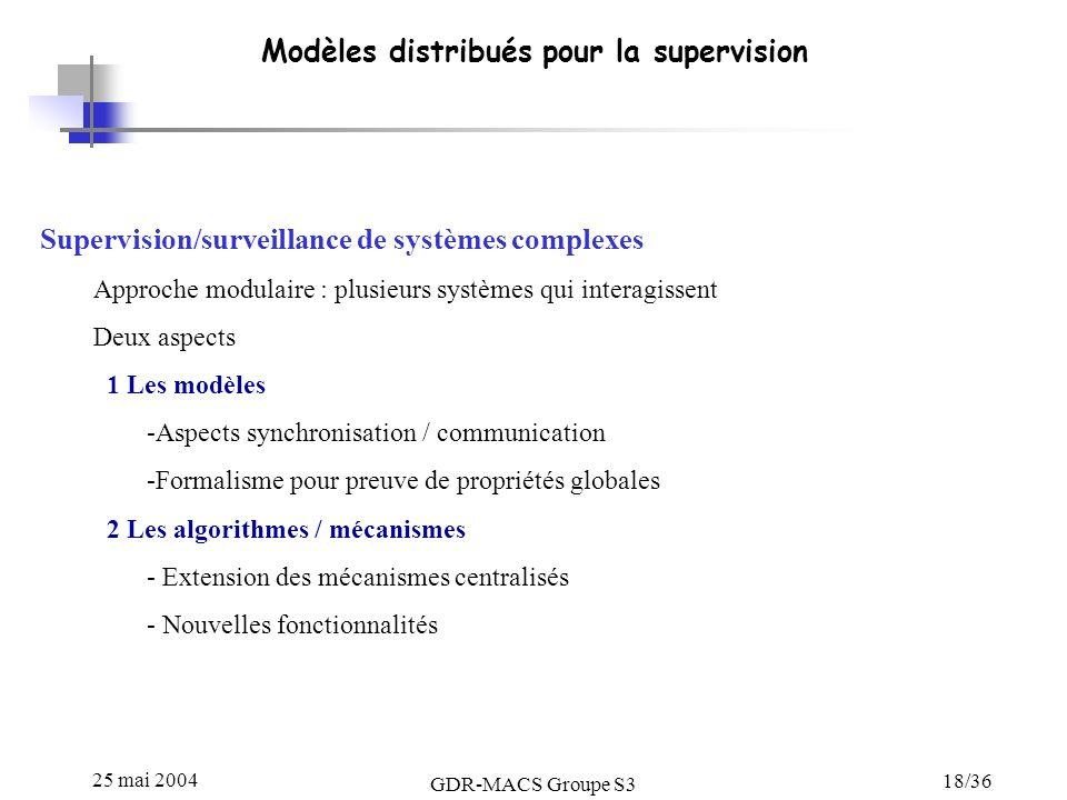 25 mai 2004 GDR-MACS Groupe S3 18/36 Modèles distribués pour la supervision Supervision/surveillance de systèmes complexes Approche modulaire : plusie