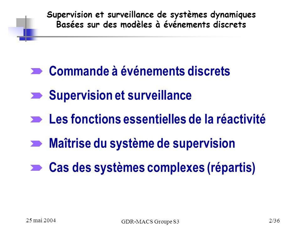 25 mai 2004 GDR-MACS Groupe S3 2/36 Supervision et surveillance de systèmes dynamiques Basées sur des modèles à événements discrets Commande à événements discrets Supervision et surveillance Les fonctions essentielles de la réactivité Maîtrise du système de supervision Cas des systèmes complexes (répartis)