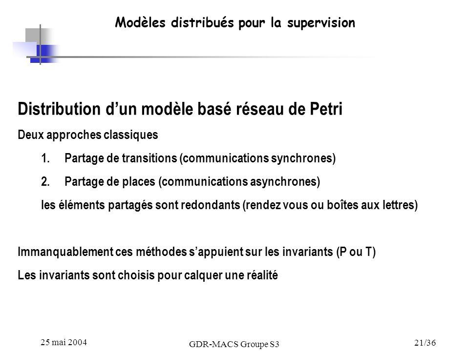 25 mai 2004 GDR-MACS Groupe S3 21/36 Modèles distribués pour la supervision Distribution dun modèle basé réseau de Petri Deux approches classiques 1.Partage de transitions (communications synchrones) 2.Partage de places (communications asynchrones) les éléments partagés sont redondants (rendez vous ou boîtes aux lettres) Immanquablement ces méthodes sappuient sur les invariants (P ou T) Les invariants sont choisis pour calquer une réalité