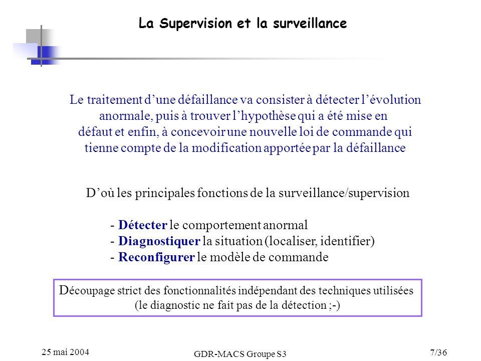 25 mai 2004 GDR-MACS Groupe S3 7/36 La Supervision et la surveillance Doù les principales fonctions de la surveillance/supervision - Détecter le comportement anormal - Diagnostiquer la situation (localiser, identifier) - Reconfigurer le modèle de commande Le traitement dune défaillance va consister à détecter lévolution anormale, puis à trouver lhypothèse qui a été mise en défaut et enfin, à concevoir une nouvelle loi de commande qui tienne compte de la modification apportée par la défaillance D écoupage strict des fonctionnalités indépendant des techniques utilisées (le diagnostic ne fait pas de la détection ;-)