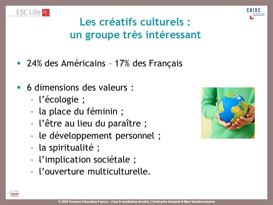 © 2009 Pearson Education France – Oser le marketing durable, Christophe Sempels & Marc Vandercammen Lagriculture biologique représentait environ 1,2% du volume de ventes global de produits alimentaires en France en 2007.