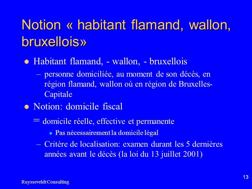 Ruysseveldt Consulting 13 Notion « habitant flamand, wallon, bruxellois» Habitant flamand, - wallon, - bruxellois –personne domiciliée, au moment de s