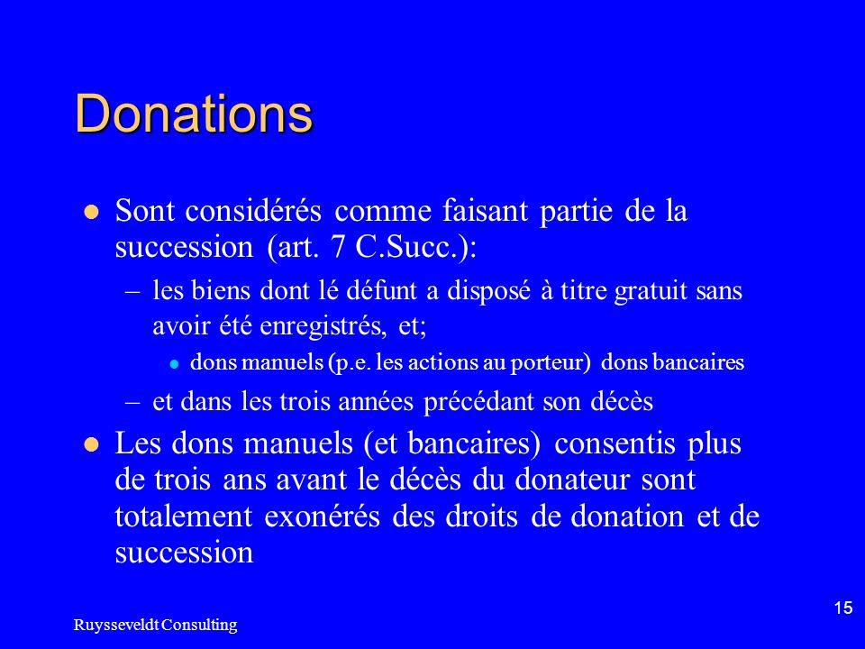 Ruysseveldt Consulting 15 Donations Sont considérés comme faisant partie de la succession (art. 7 C.Succ.): –les biens dont lé défunt a disposé à titr