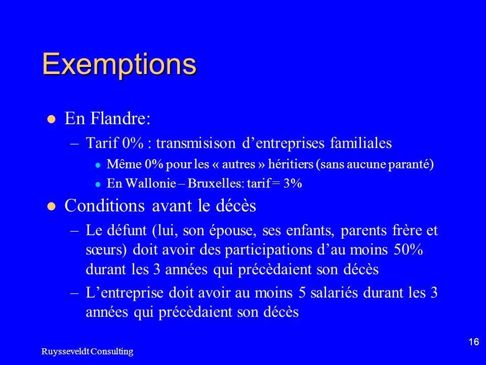 Ruysseveldt Consulting 16 Exemptions En Flandre: –Tarif 0% : transmisison dentreprises familiales Même 0% pour les « autres » héritiers (sans aucune p